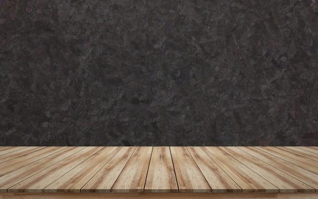 製品表示のための黒の大まかな背景テクスチャと空の木製卓上