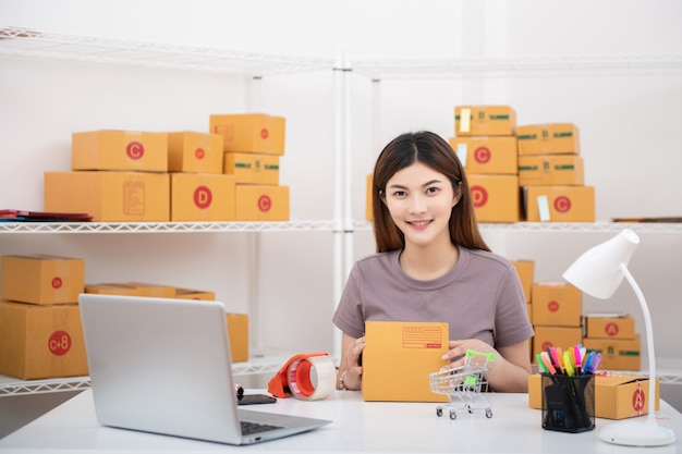 Молодая азиатская деловая женщина владельца подростка работает дома для покупок онлайн