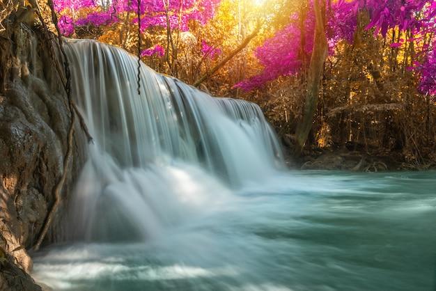 Водопад природа сезон весна в лесу