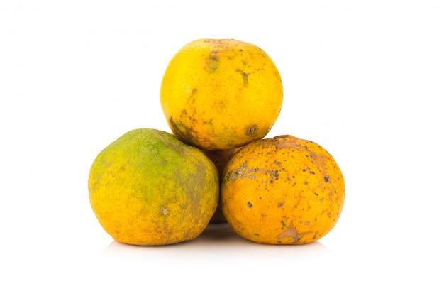オレンジ。腐った。汚れた。三。白い背景で隔離