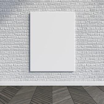 Макет холста на белой кирпичной стене