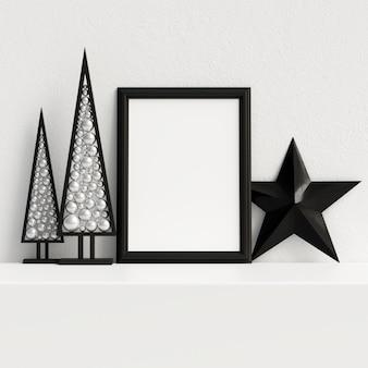 モックアップポスターフレームインテリアスカンジナビアのクリスマスの冬の装飾