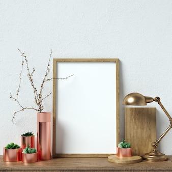 Плакат-макет интерьера с красивыми украшениями в цветах прерывателя