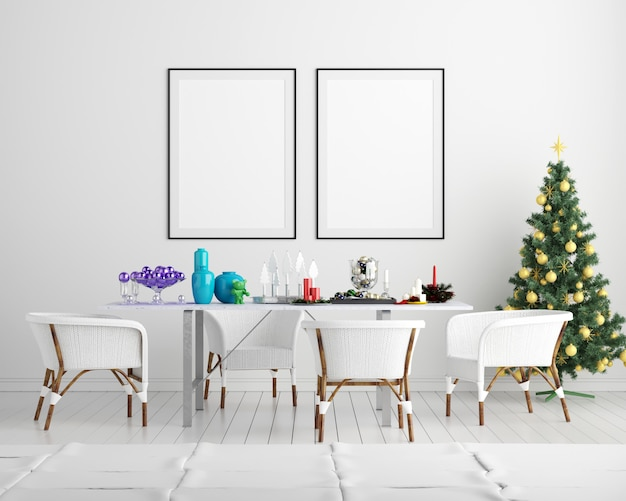 Макет постер кадр рождество новый год интерьер фон
