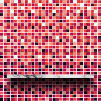 赤いモザイクの背景と白い大理石の棚の空の上部。