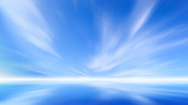 海の自然の背景に雲と美しい青い空。