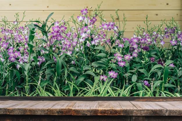 冬または春の日に蘭の庭で蘭の花の前に木製のテーブル