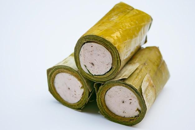 Банановые листья рулетики для вьетнамской свиной колбасы