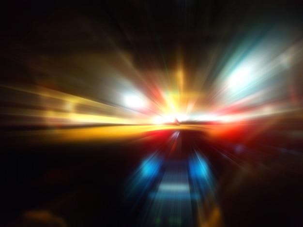 夜の道路上の車の速度の動き