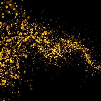 Золотые сверкающие боке звезды пыли хвост