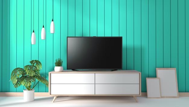 ミント壁の背景にモダンなリビングルームのキャビネットの上のテレビ