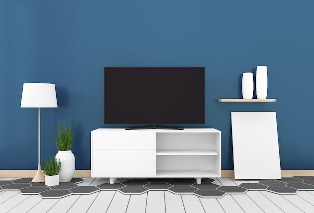 ダークブルーの壁とスマートテレビモダンなリビングルーム