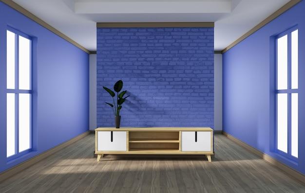 キャビネットのデザイン、白い木の床に紫色のレンガの壁とモダンなリビングルーム。