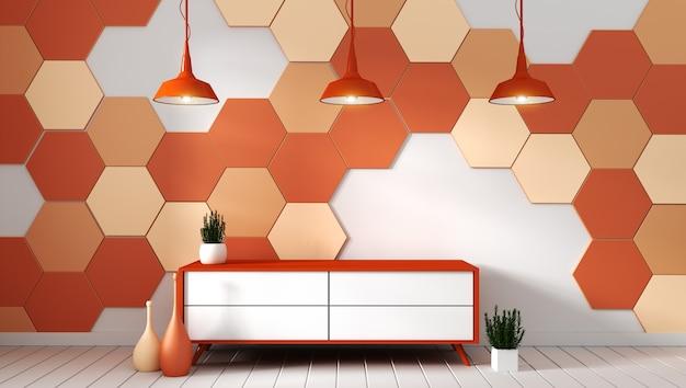 オレンジ色の六角形のタイルの背景に植物とモダンな空の部屋でテレビの棚