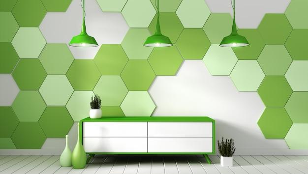 緑の六角形のタイルの背景に植物とモダンな空の部屋のテレビ棚