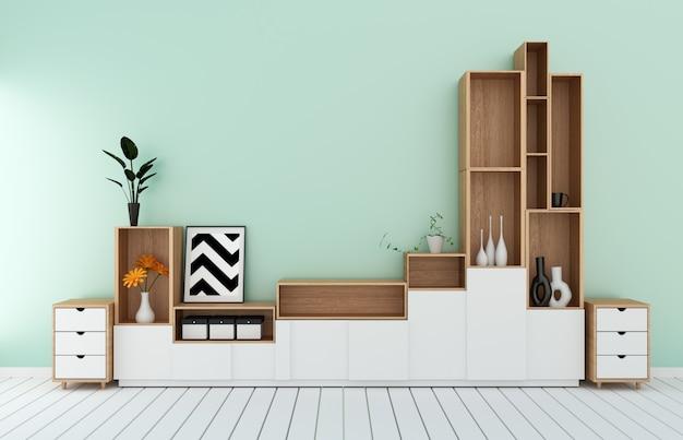 ミントルームのモダンなトロピカルスタイルのテレビ棚