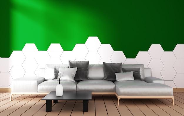 肘掛け椅子の装飾と緑の植物のモダンなリビングルームのインテリア