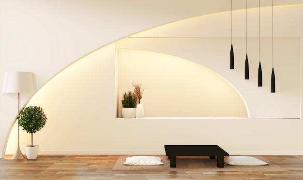 モダンな禅スタイルの白いリビングルーム。静かで落ち着いたリビングルーム。