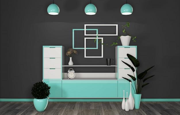 Шкаф в современной мятно-черной комнате японский