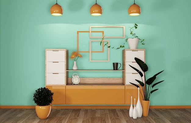 Шкаф в современной мятно-оранжевой комнате японский