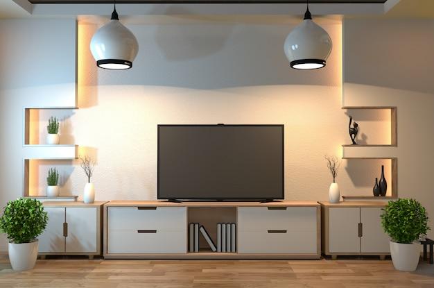 インテリアデザイン、スマートテレビ、テーブル、ランプ、木製の床、白い壁のあるモダンなリビングルーム