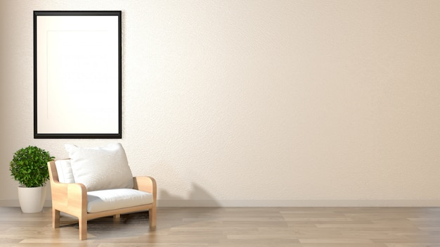 日本の装飾スタイルの禅リビングルーム空の白い壁の背景。