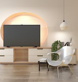 Тв шкаф в современном пустом помещении, настенная полка, дизайн скрытый свет в японском стиле - дзен, минималистичный дизайн.