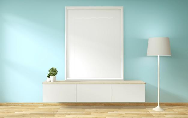 Телевизионная полка в мятной комнате в современном тропическом стиле - интерьер пустой комнаты -