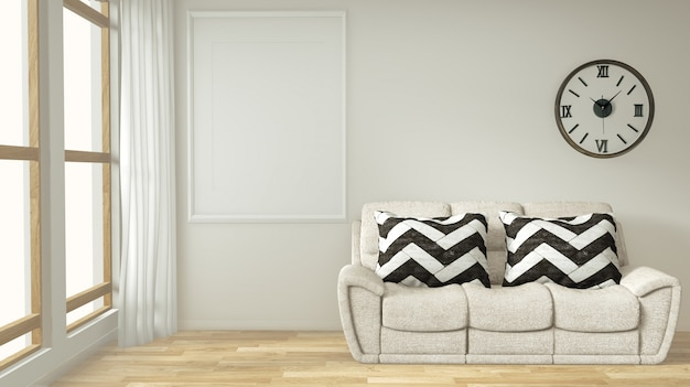 Интерьерная постерная рамка макет гостиной с белым диваном