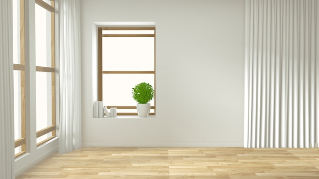 空のインテリアの背景、木の床でモックアップの装飾が施された部屋