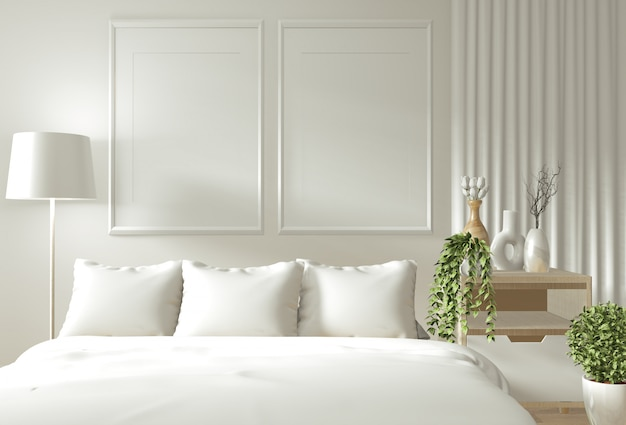 家の内壁は禅の寝室で木製のベッド、カーテン、装飾和風スタイルでモックアップ