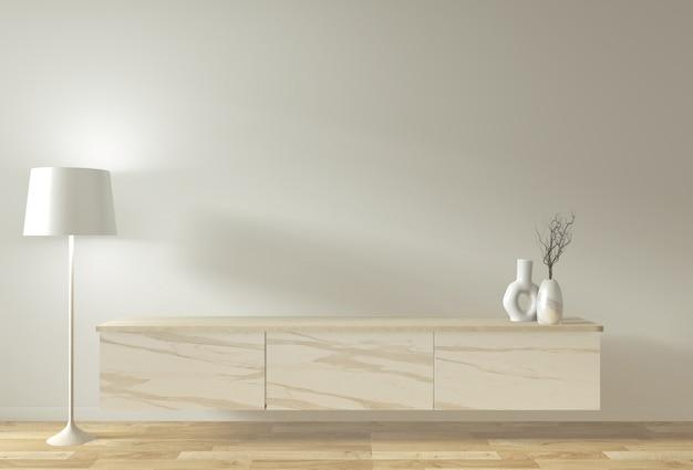 部屋のミニマルなデザインと装飾の和風でテレビのキャビネットとディスプレイをモックアップ