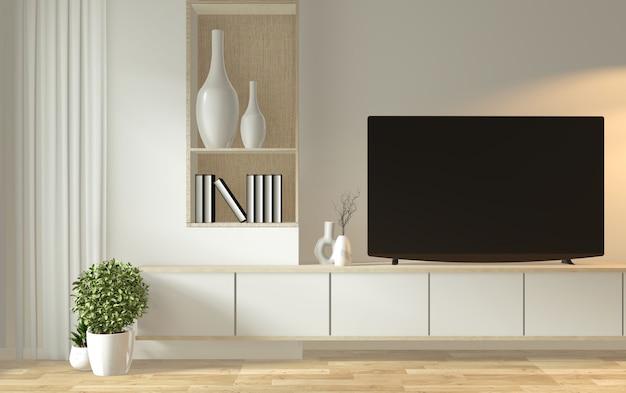 禅モダンな空部屋和風ミニマルスタイルのテレビキャビネットのモックアップ