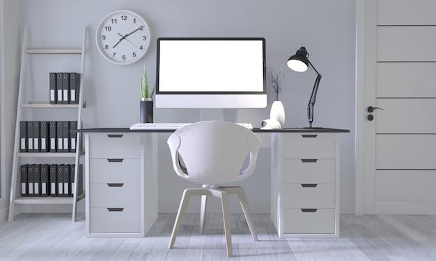 白い部屋と白い木の床に白い快適なデザインと装飾でポスターオフィスのモックアップを作成します