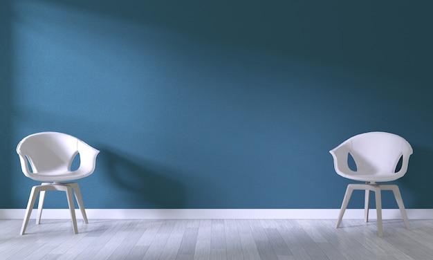 部屋の暗い青い壁の背景に白い椅子