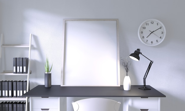 部屋の装飾が施されたトップテーブルオフィスのモックアップデザイン