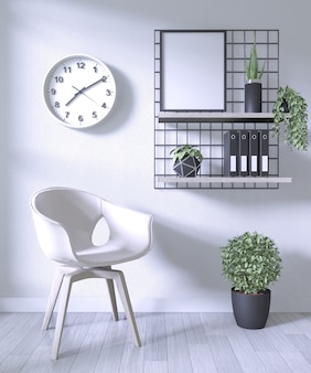 白い部屋の背景に白い椅子と装飾事務所