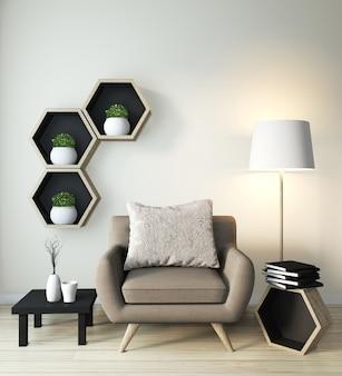 Идея шестигранной деревянной полки на стену и кресло в японском стиле