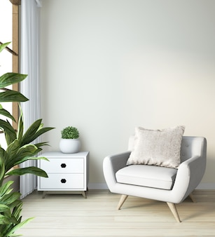Кресло макет в современном стиле дзен комнате в японском стиле