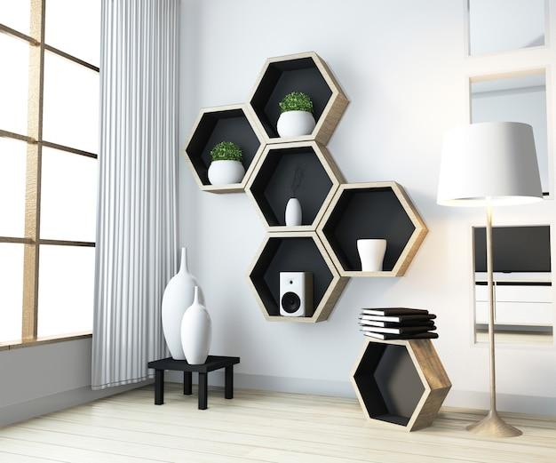Идея шестигранной полки деревянного дизайна на стене в гостиной в стиле дзен