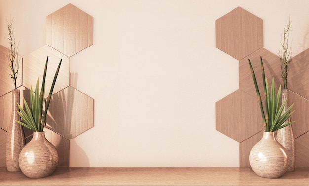 Шестиугольник плитка деревянные и деревянные вазы украшения на полу деревянный тон земли.