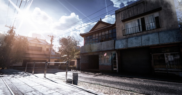 Реалистичная модель японского дома в старинном стиле