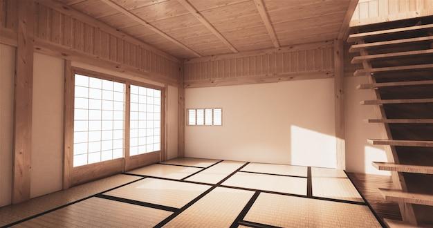 Макет, японский коврик для татами в пустой комнате.