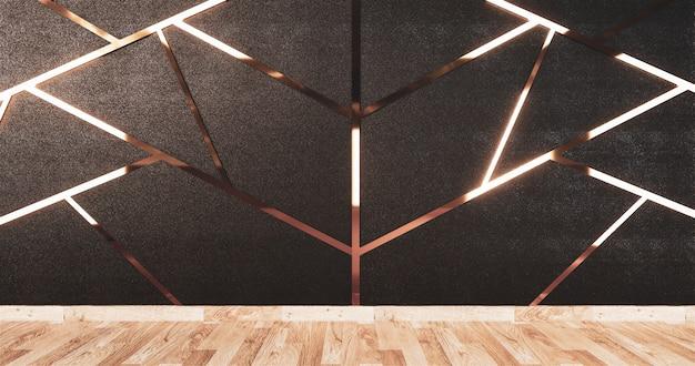 黒い壁のデザインと木製の床にアルミニウムのトリムゴールド