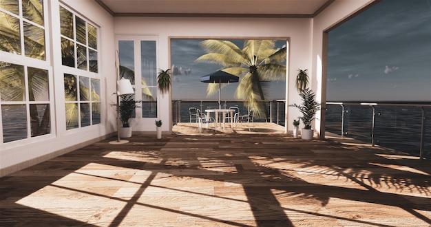 Гостиная с видом на море в современном летнем домике на пляже