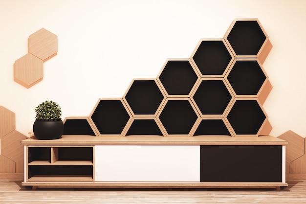 六角形の棚と和風の木製キャビネット