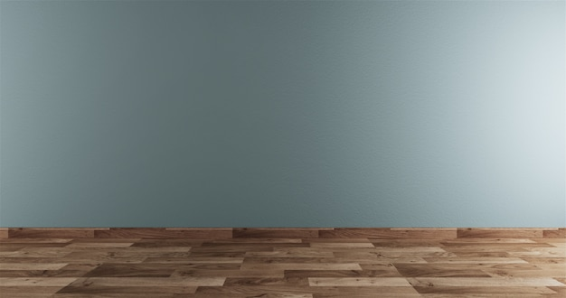 木製の床のインテリアに白いネオミント空の部屋