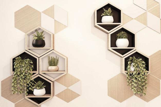 壁に六角形の木製の棚日本人