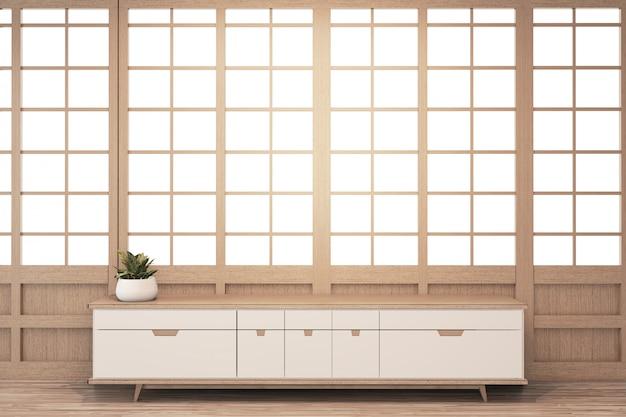 リビングルームの禅スタイルと木製の窓壁の背景にキャビネット木製日本人