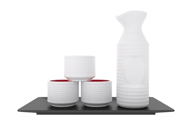 Японское традиционное с чашкой и бутылкой ради на белой предпосылке.